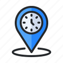 alarm, clock, map, pin, place, time, timer icon