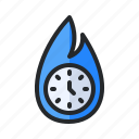 business, clock, deadline, delivery, fire, flame, time icon