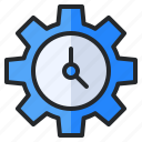 clock, gear, notification, option, setting, time, timer icon