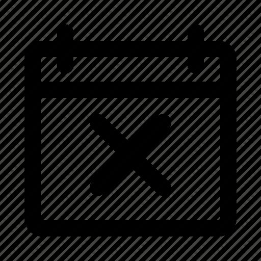 app, calendar, delete, interface, software, ui, ux icon