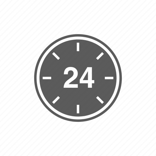 24 hours, all day, clock, time icon
