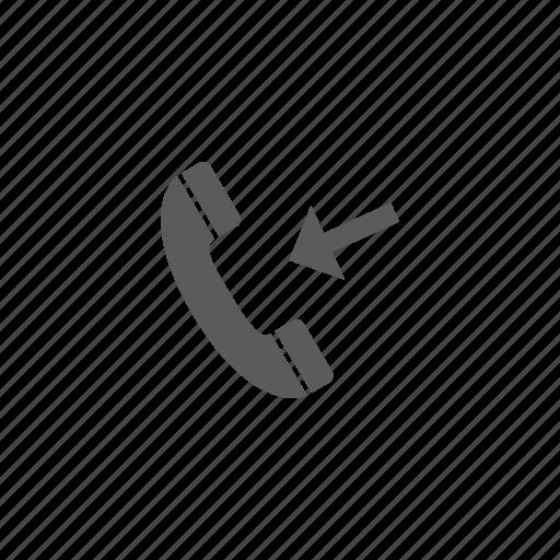 arrow, call, incoming call, phone icon