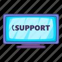call, cartoon, center, customer, headset, illustration, support icon