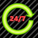 call, center, customer, illustration, support, twenty four seven icon