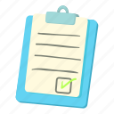 cartoon, checklist, clipboard, line, list, outline, thin icon