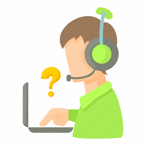 cartoon, headset, laptop, man, operator, question, service icon