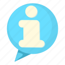 bubble, cartoon, chat, discussion, i, information, speak icon