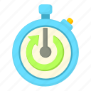 arrow, cartoon, clock, hour, stopwatch, time, timer icon