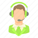 cartoon, customer, green, headset, male, operator, service icon
