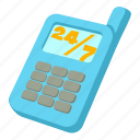 cartoon, chat, communication, customer, hour, phone, service icon
