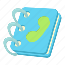 address, blue, book, cartoon, handset, note, page icon