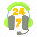 cartoon, green, headphone, headset, microphone, phone, support icon