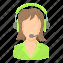 call, cartoon, green, headset, operator, service, woman icon