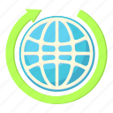 arrow, business, cartoon, earth, global, globe, world icon