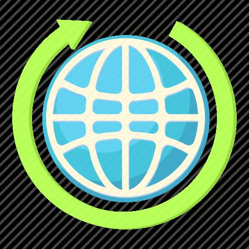 arrow, business, cartoon, earth, global, globe, world icon