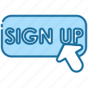 sign up, register, login, account, action