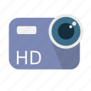 camera, hd, high definition, lens, long shadow, material, video icon