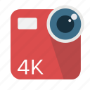 camera, cinema, digital, long shadow, material, video icon
