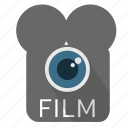analog, camera, cameralens, cinema, film, material, video icon