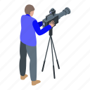 cameraman, capture, cartoon, frame, isometric, music, person icon