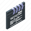 cartoon, clapper, equipment, isometric, picture, production, video icon