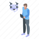 cameraman, cartoon, drone, isometric, man, person, video icon
