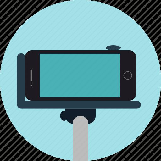 iphone, photo, photography, selfie, selfie stick, stick icon