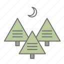 adventure, camping, cs6, forest, multicolor, night, outdoor, trees icon