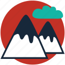 clouds, hill, mount, mountains, nature, seashore, sunset icon