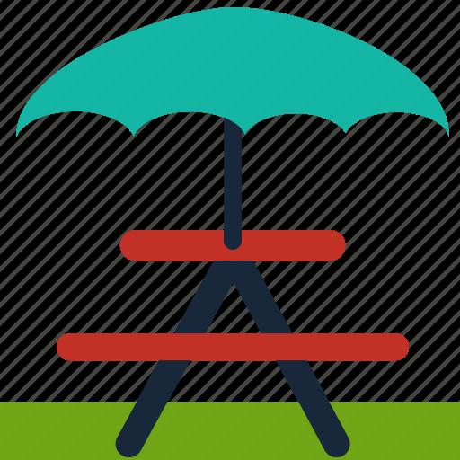 bbq, bench, camping, outdoor, picnic, table, umbrella icon