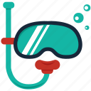 diver, diving, equipments, mask, scuba, snorkel, snorkeling icon