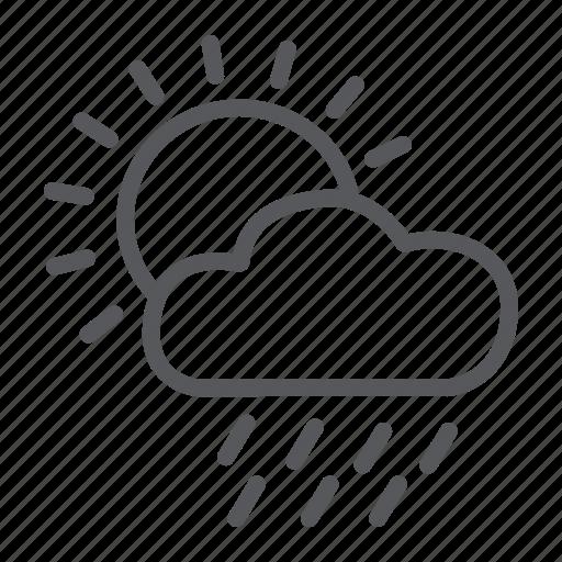 cloud, day, rain, sky, sun, weather icon