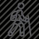 hiker, hiking, man, person, tourist, travel icon