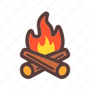 bonfire, campfire, camping, outdoor icon