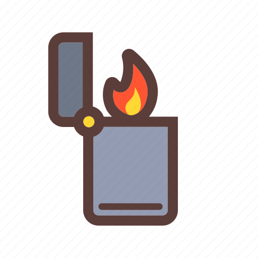 camping, fire, light, lighter icon