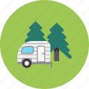 nature, forest, camping, camp, woods, caravan, camper icon