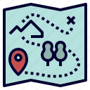 adventure, camping, map, treasure icon