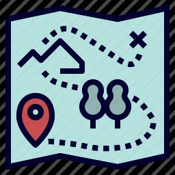 adventure, camping, map, treasure icon
