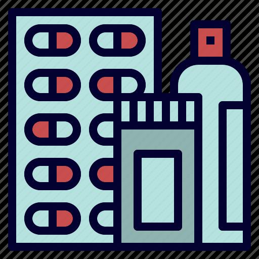 bottle, capsule, medicine, pill, spray icon