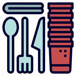 camping, cup, fork, party, spoon, utensils icon