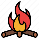 campfire, fire, warm, camping