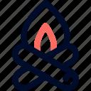 bonfire, camp, fire, line, minimalist icon