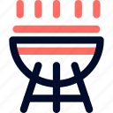 barbeque, camp, cooking, line, minimalist icon