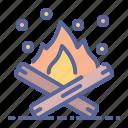 bonfire, campfire, camping, wood