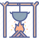 bonfire, campfire, cook, wood icon