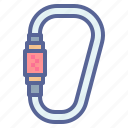 carabiner, climbing, hiking, mountain icon
