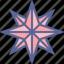 compass, direction, pole, star