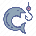 fish, fishing, holiday, hook icon