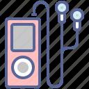 earphones, gadget, ipod, music