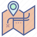blueprint, map, trail, treasure icon